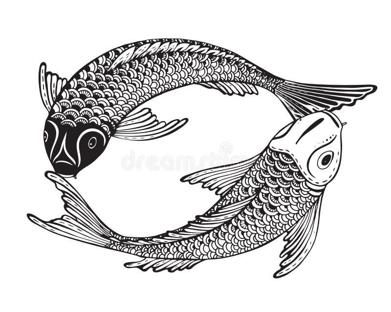 Hand dragen vektorillustration av två Koi fiskar (den japanska karpen) vektor illustrationer