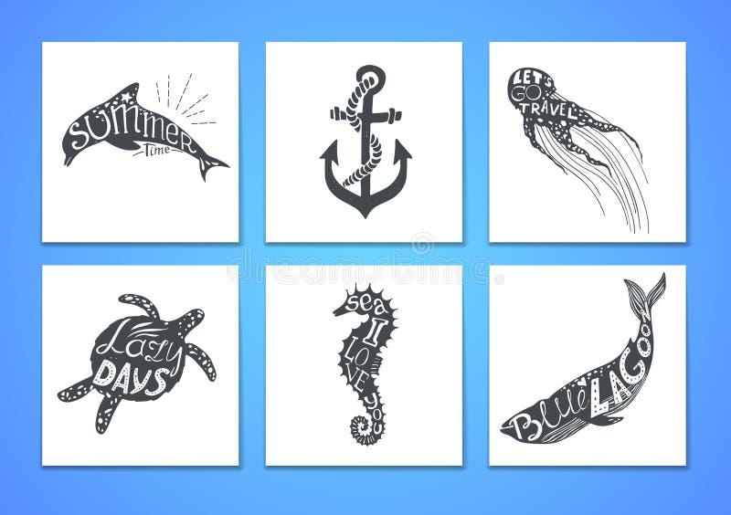 Hand dragen vektorillustration - marin- sats Grafiska beståndsdelar vektor illustrationer