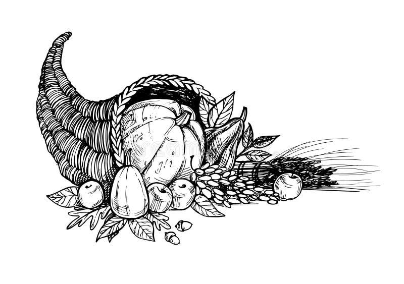 Hand dragen vektorillustration - tacksägelsedag Ymnighetshorn royaltyfri illustrationer