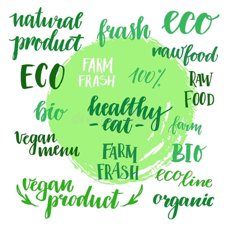 Hand dragen vektorillustration - uppsättning av etiketter för organisk mat org royaltyfri illustrationer