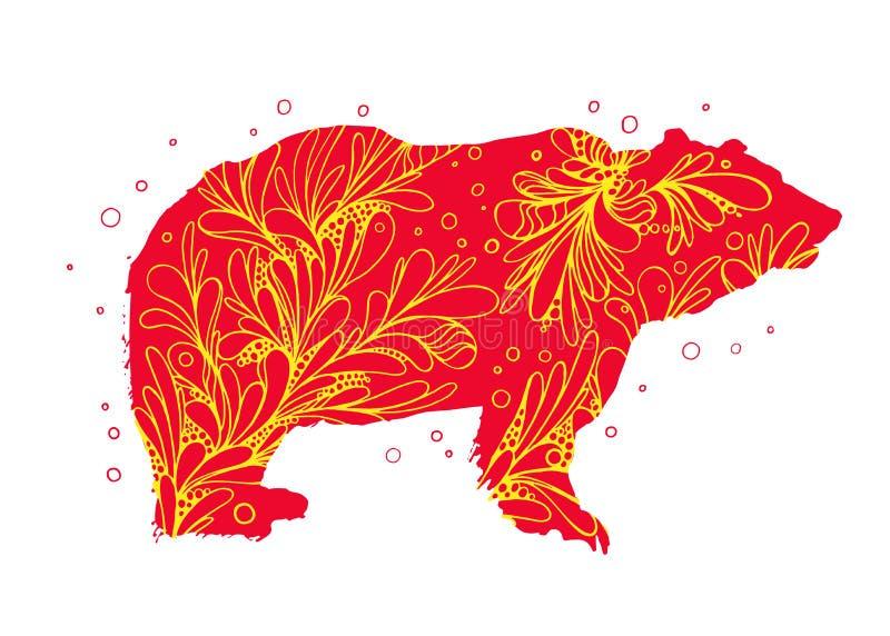 Hand dragen vektorkontur för svart björn, SimpleAnimal Logo Symbol med klotterdesignbeståndsdelar med virvlar royaltyfri illustrationer