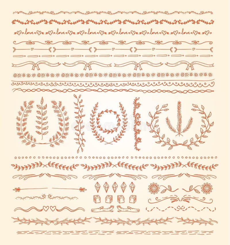 Hand-dragen vektorlinje gränsuppsättning, designbeståndsdel vektor illustrationer