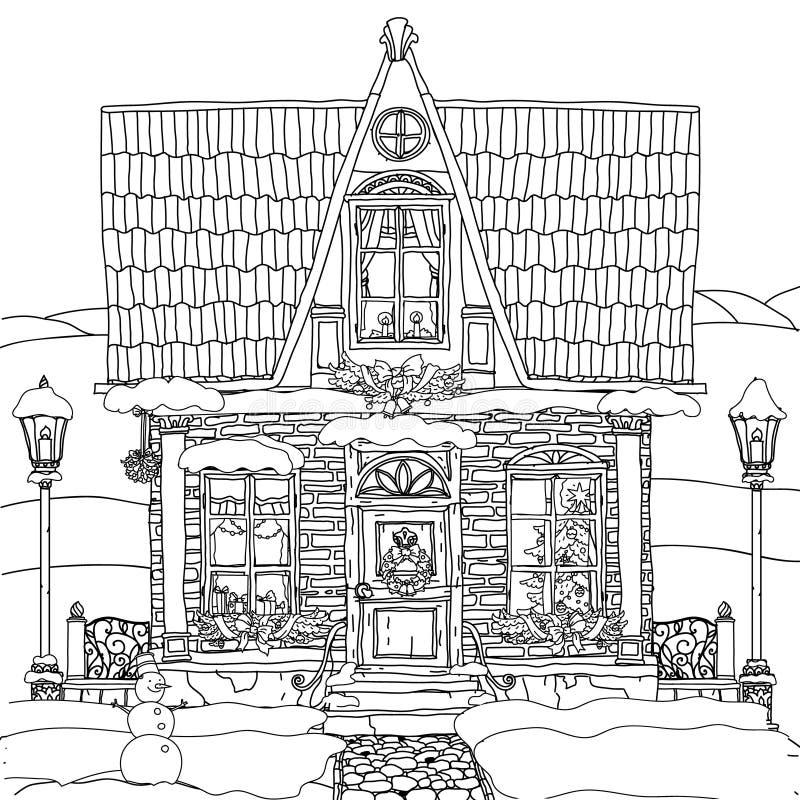 Hand dragen vektormaterielillustration av huset stock illustrationer