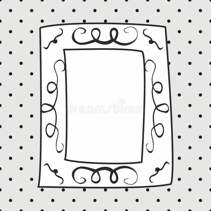 Hand dragen vektorram på prickgrå färgbakgrund stock illustrationer