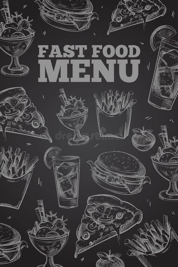 Hand dragen vektorsnabbmat på den svart tavlan i tappningstilbeståndsdelar för restaurangmeny royaltyfri illustrationer