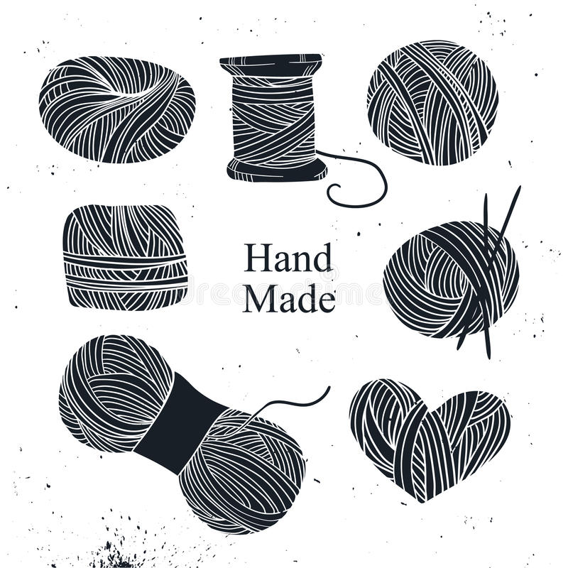 Hand dragen vektortappningillustration - uppsättning av handarbete vektor illustrationer