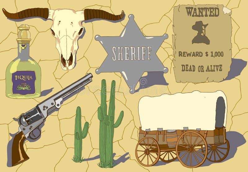 Hand dragen vektoruppsättning för cowboy vektor illustrationer