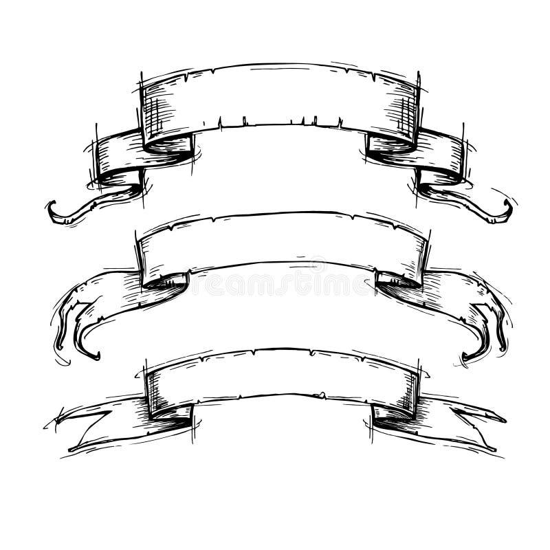 Hand dragen vektoruppsättning - tappningbandbaner stock illustrationer