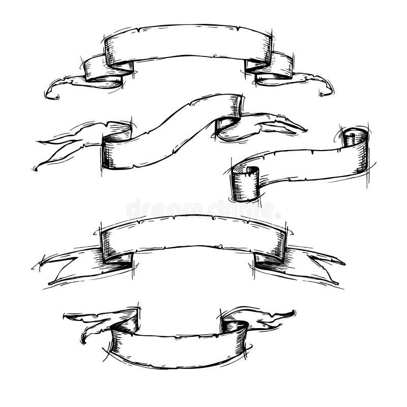 Hand dragen vektoruppsättning - tappningbandbaner vektor illustrationer