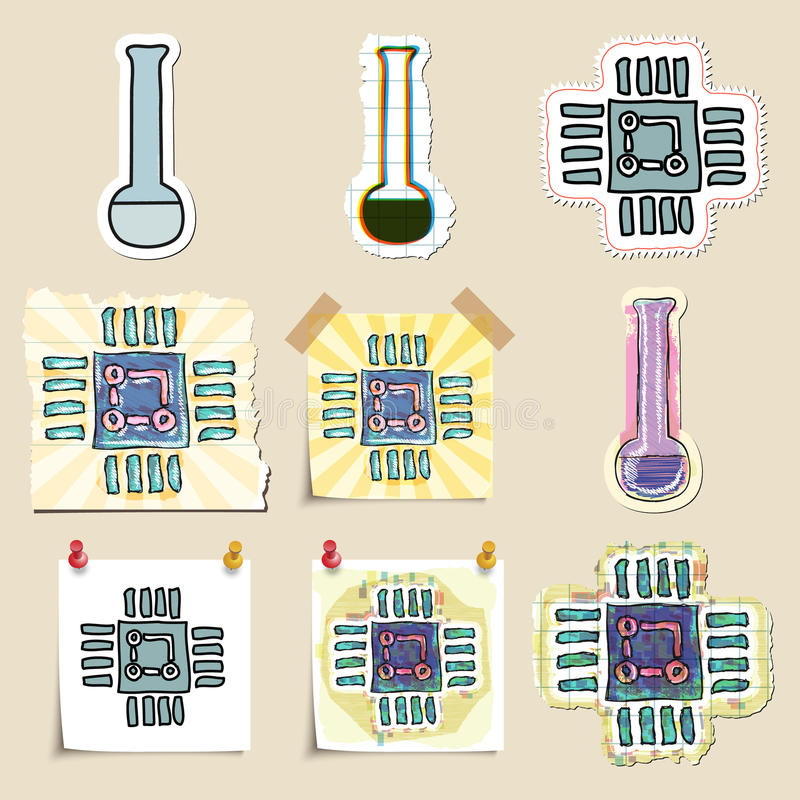 Hand dragen vetenskap och laboratoriumemblemuppsättning stock illustrationer