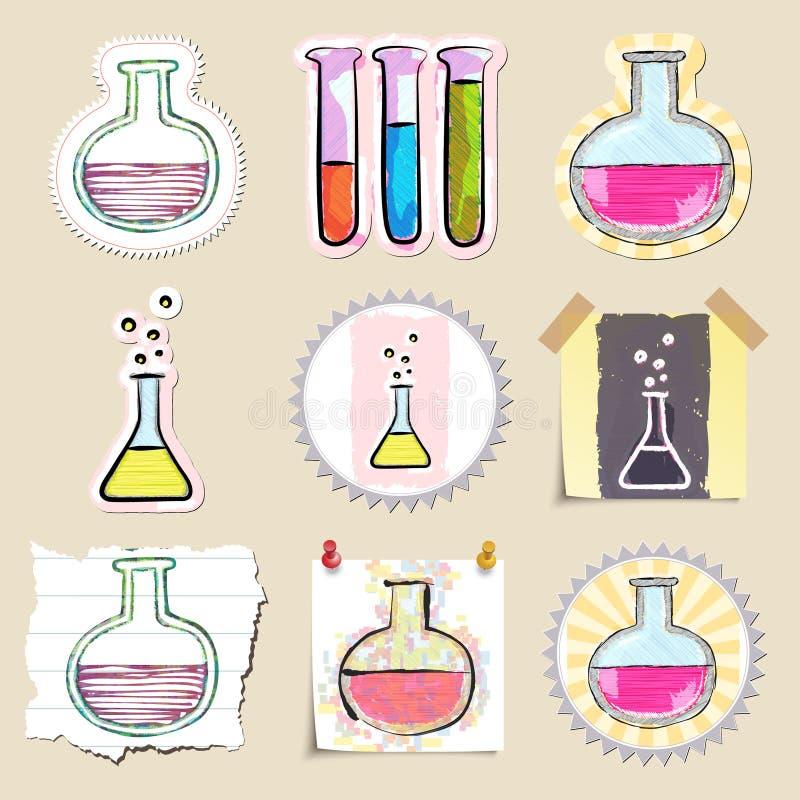 Hand dragen vetenskap och laboratoriumemblemuppsättning royaltyfri illustrationer