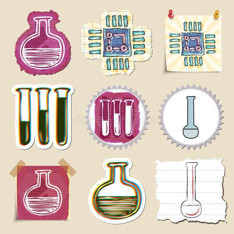 Hand dragen vetenskap och laboratoriumemblemuppsättning vektor illustrationer