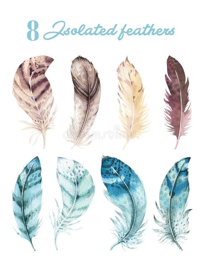 Hand dragen vibrerande fjäderuppsättning för vattenfärg Boho stil Illustration som isoleras på white Design för fågelflugafjädrar stock illustrationer