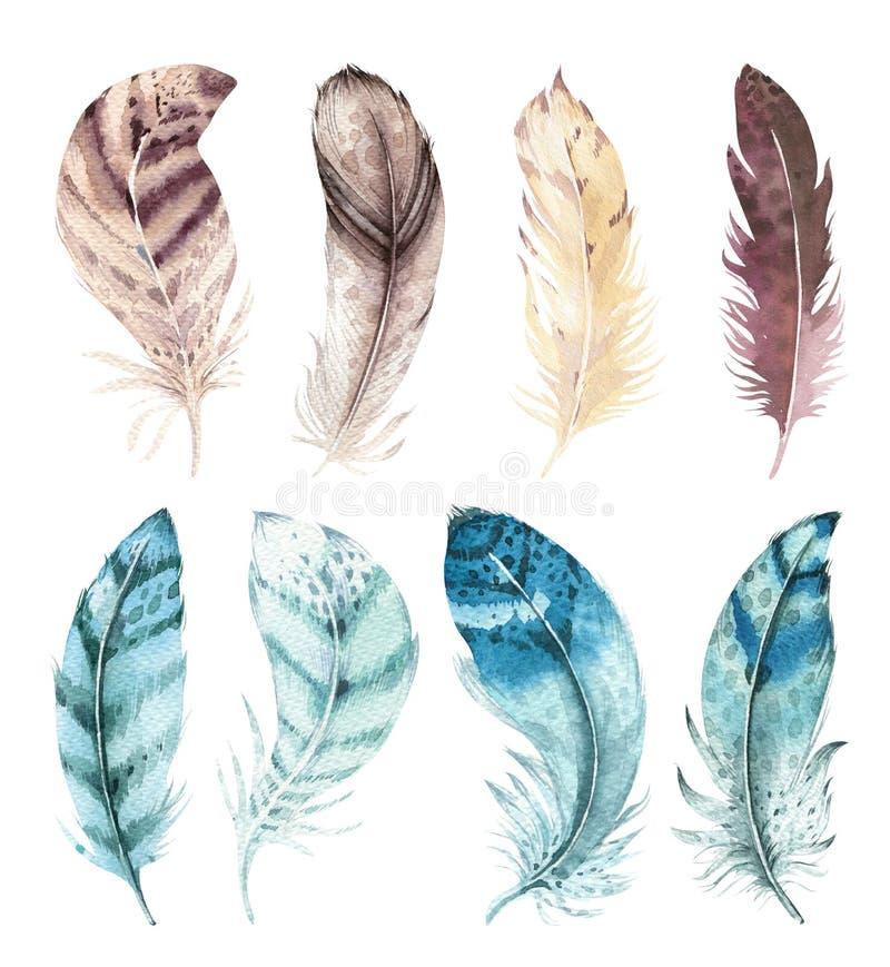 Hand dragen vibrerande fjäderuppsättning för vattenfärg Boho stil Illustration som isoleras på white Design för fågelflugafjädrar royaltyfri illustrationer