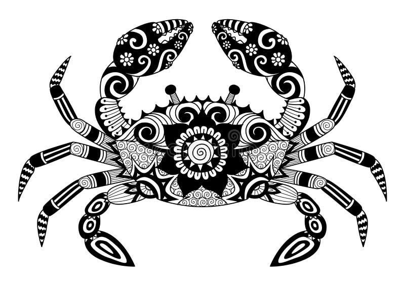 Hand dragen zentanglekrabba för färgläggningboken för vuxna människan, tatuering, skjortadesign, logo och så vidare stock illustrationer
