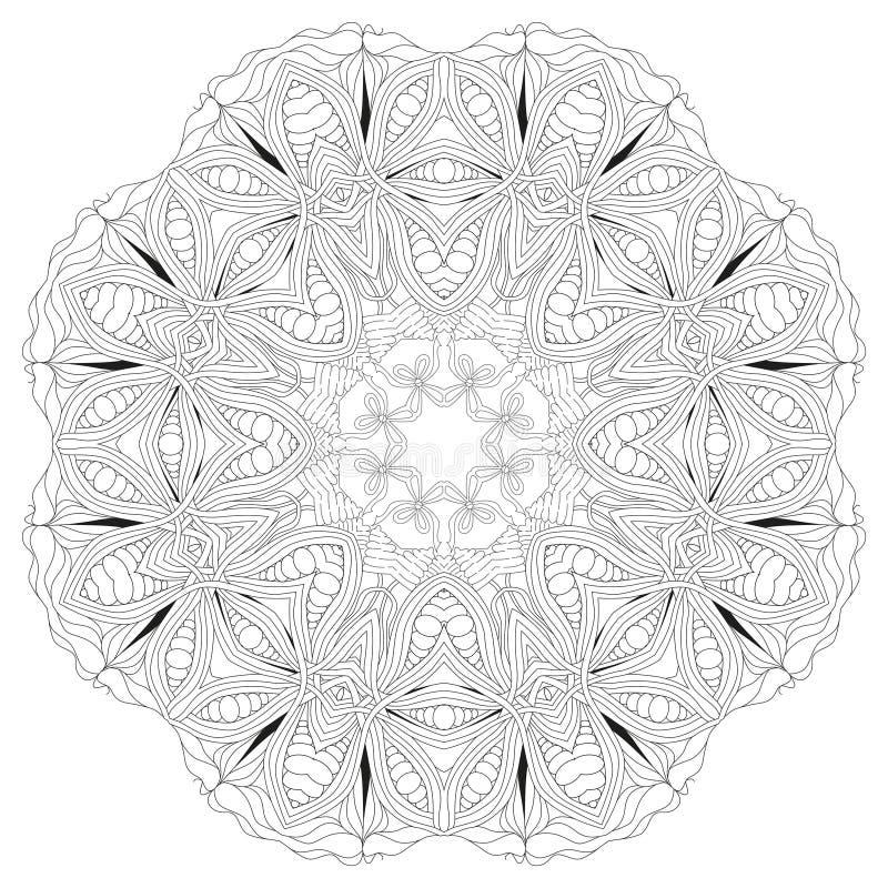 Hand dragen zentanglemandala för att färga sidan vektor illustrationer