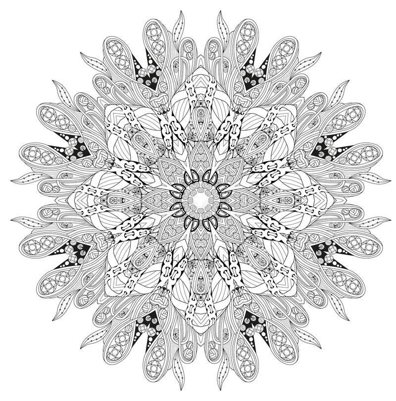 Hand dragen zentanglemandala för att färga sidan royaltyfri illustrationer