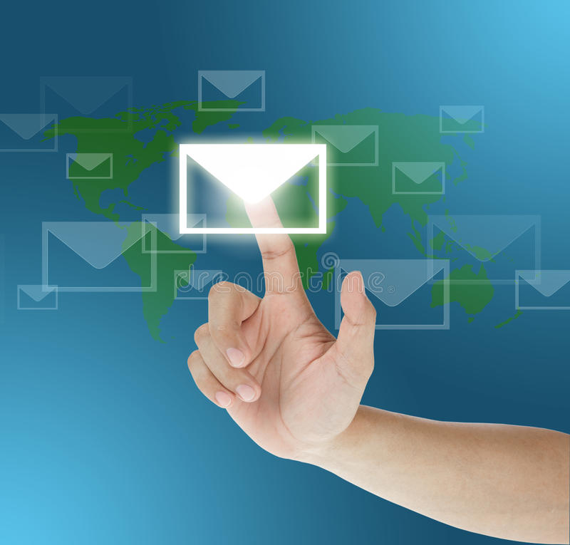 Hand dragging mail on touch screen. Button royalty free stock image