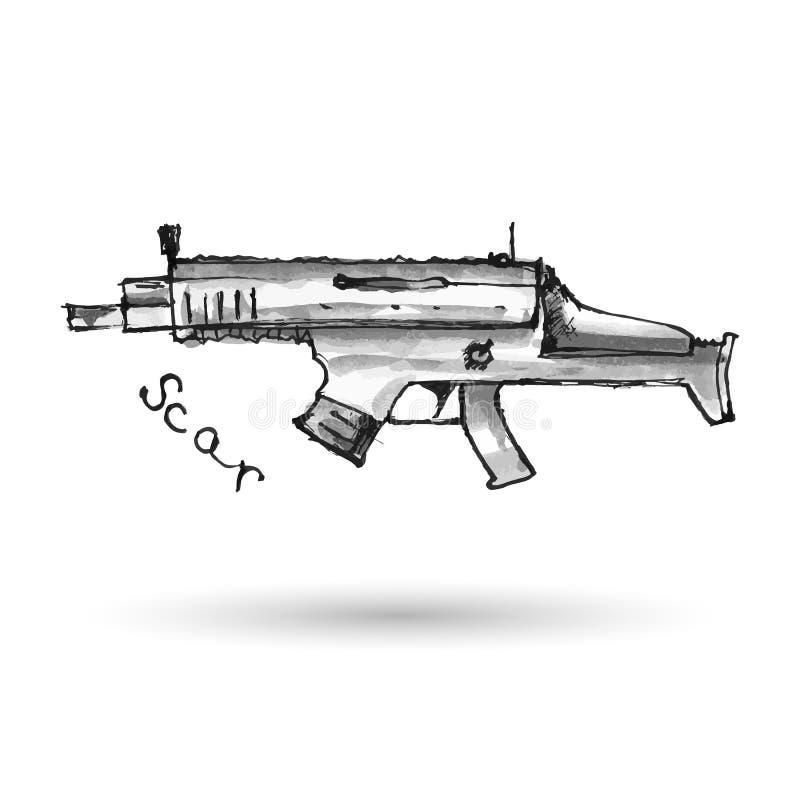 Hand dragit ärr för anfallgevär på vit stock illustrationer