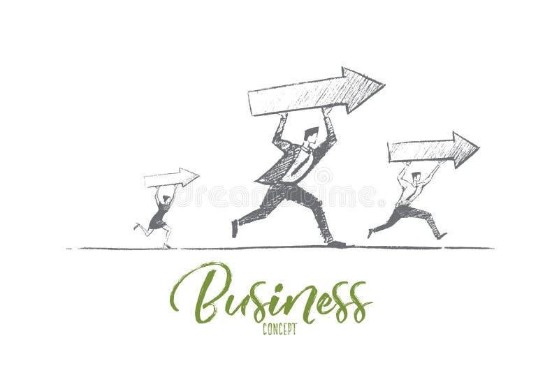 Hand dragit affärsfolk som kör med indikatorer stock illustrationer