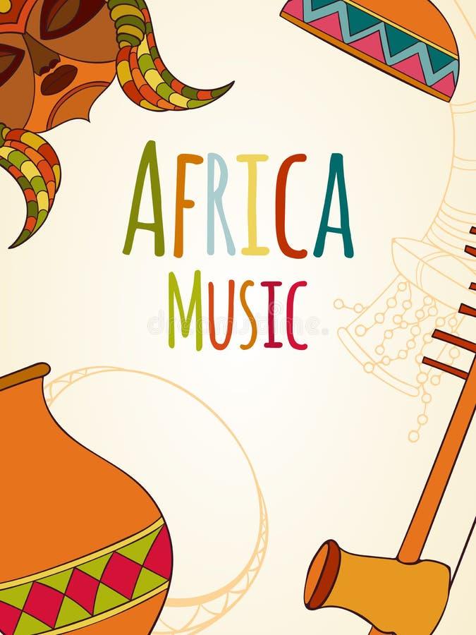 Hand-dragit africa musikkort stock illustrationer