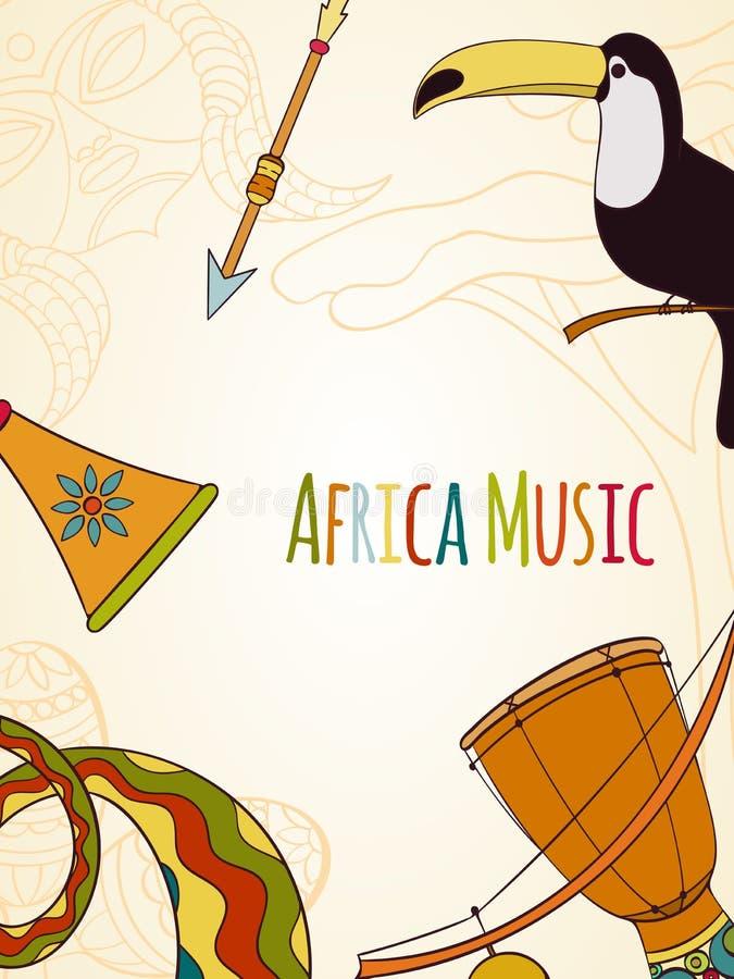 Hand-dragit africa musikkort vektor illustrationer