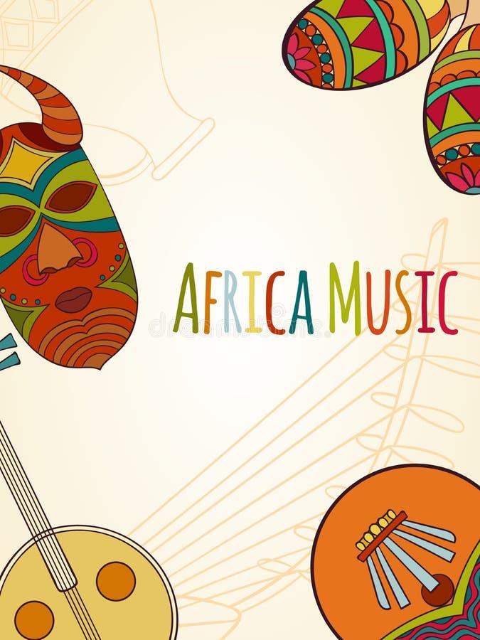 Hand-dragit africa musikkort royaltyfri illustrationer