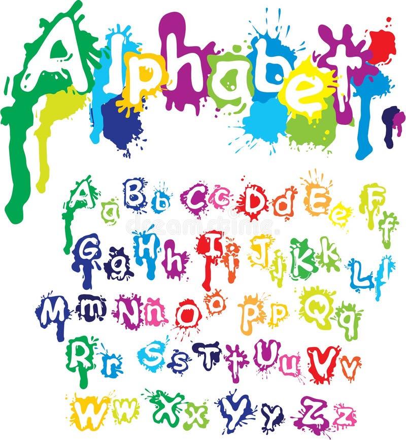Hand dragit alfabet - bokstäver göras av vatten c royaltyfri illustrationer