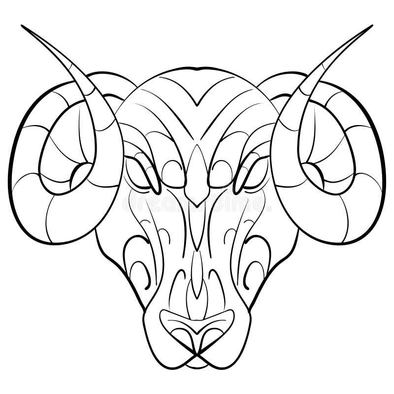 Hand dragit astrologiskt zodiakteckenRAM royaltyfri illustrationer