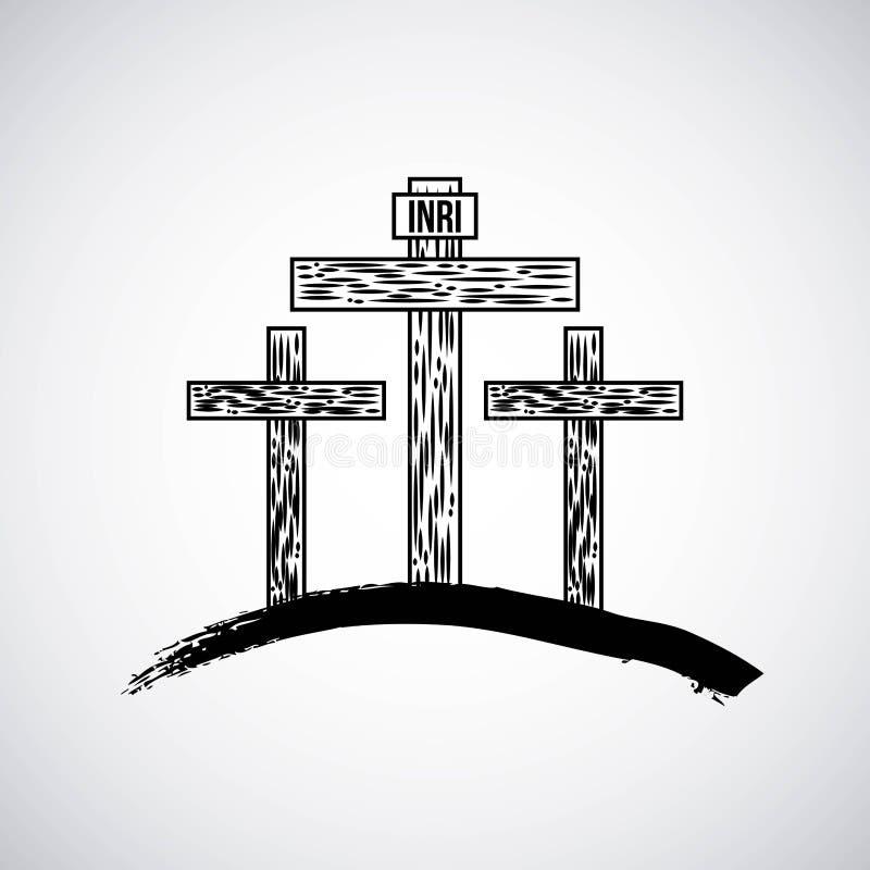Hand dragit berg med katoliksymbol för tre kors stock illustrationer