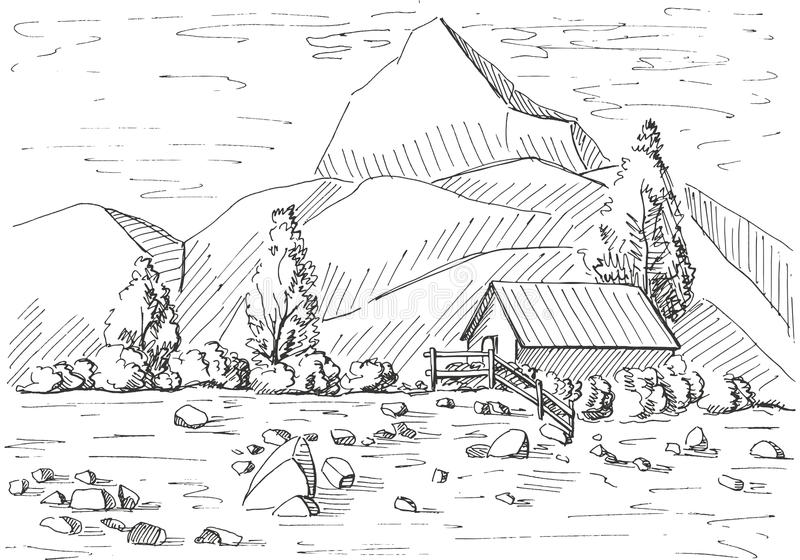 Hand dragit berglandskap Hus på en bakgrund av berg Vektorillustration av en skissastil stock illustrationer