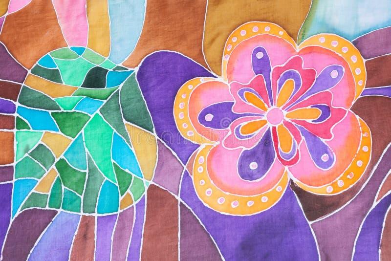 Hand dragit blomma och blad på den siden- batikhalsduken royaltyfri illustrationer