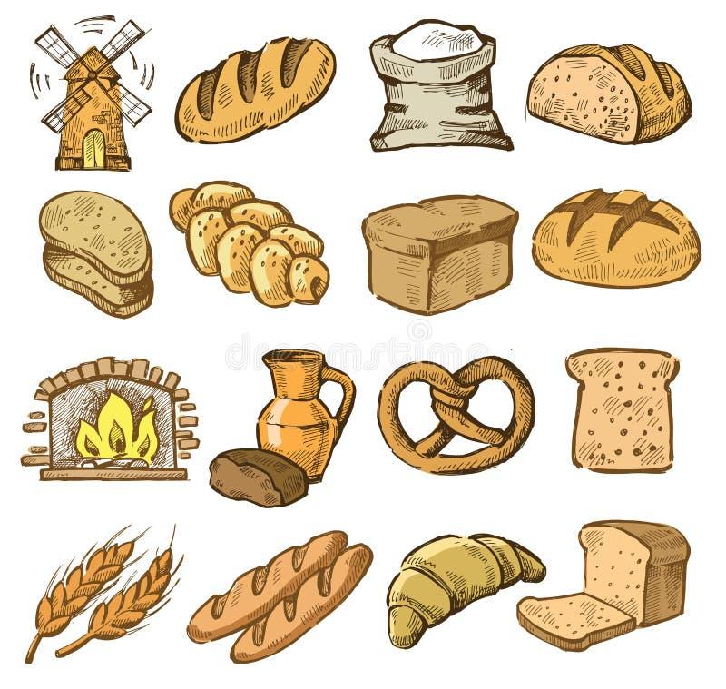 Hand dragit bröd royaltyfri illustrationer