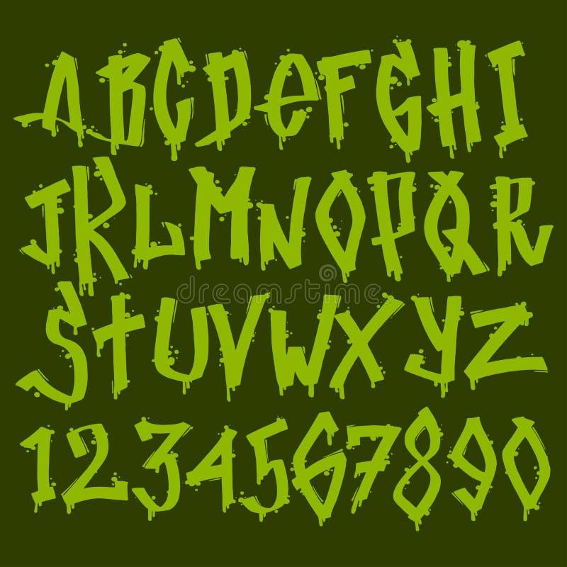 Hand dragit färgpulver för diagram för borste för text för grafitti för alfabet för vektor för symbol för grungestilsortsmålarfär stock illustrationer
