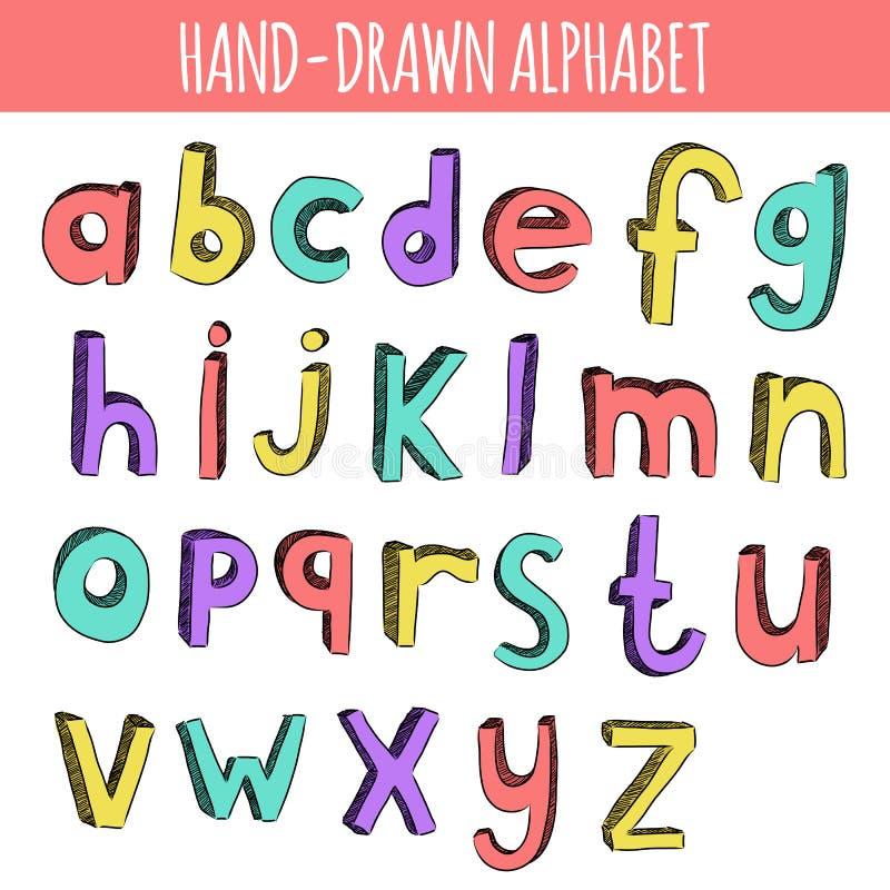Hand dragit färgrikt engelskt alfabet vektor illustrationer
