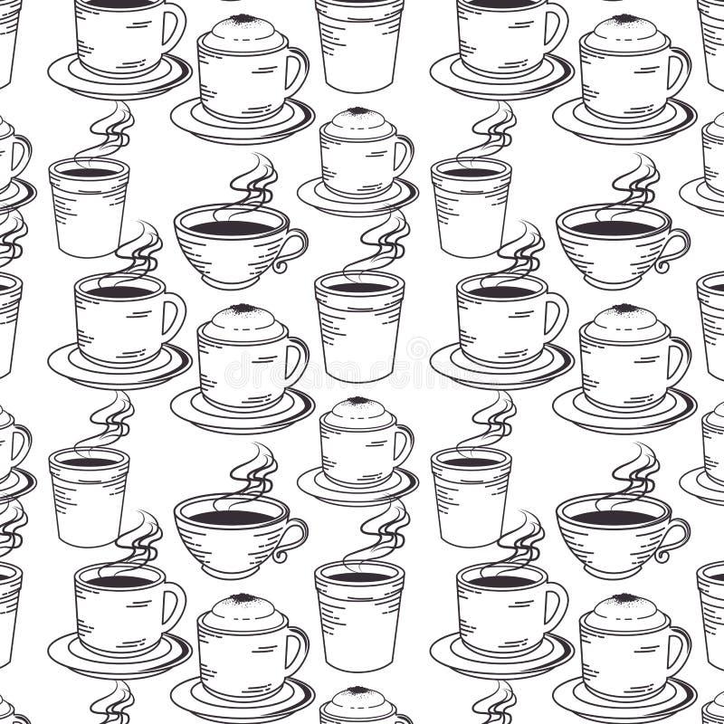 Hand dragit fastställt kaffe stock illustrationer