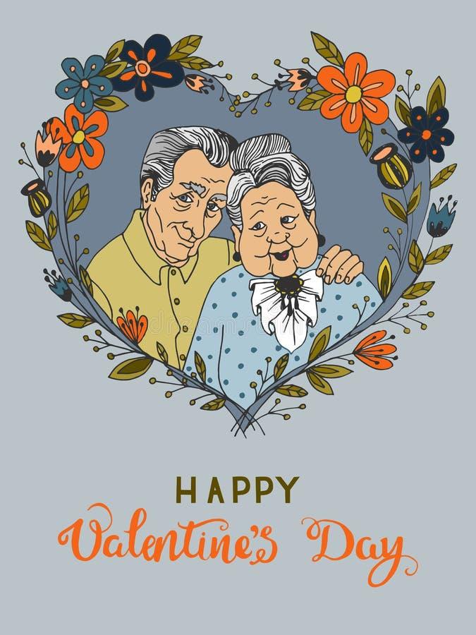 Hand-dragit hälsningkort för dag för valentin` s med lyckliga gamla par för tecknad film tillsammans vektor illustrationer