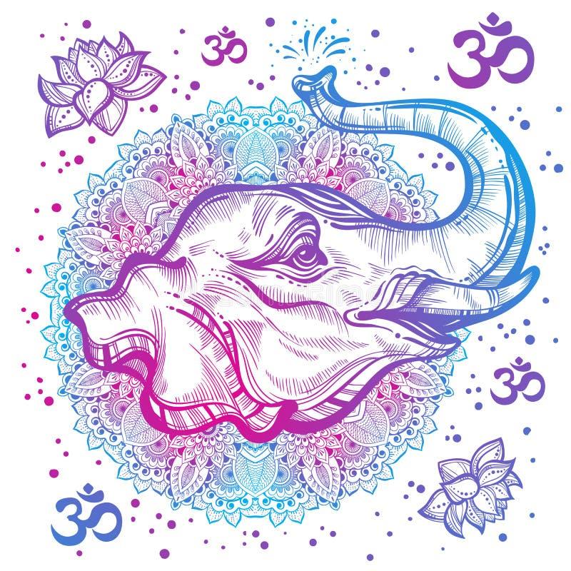 Hand-dragit härligt elefanthuvud med den indiska mandalaen, rund prydnadmodell Hagh-specificerad vektorillustration royaltyfri illustrationer