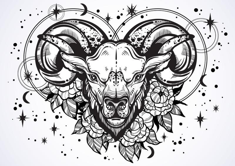 Hand-dragit härligt konstverk av RAM med pionblommor och astrologi undertecknar omkring Vädur zodiaktecken Moderiktig vektorkonst royaltyfri illustrationer