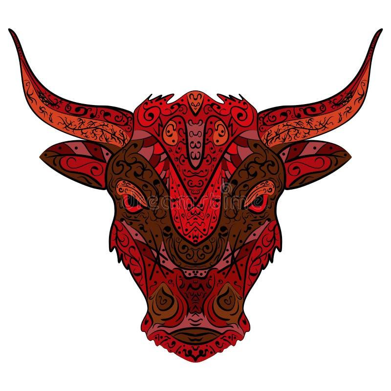 Hand-dragit huvud av tjuren Zentangle klotterstil stock illustrationer