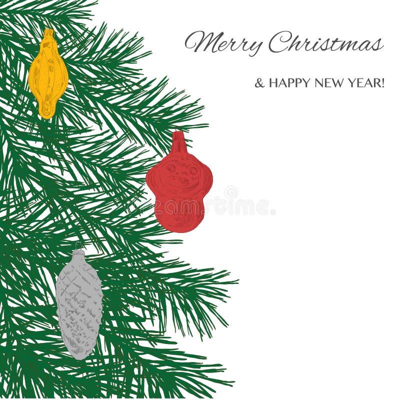 Hand dragit julträd med leksaker: apa kotte arkivfoto