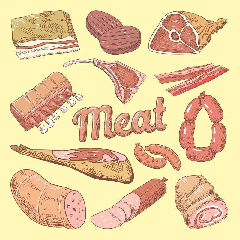 Hand dragit köttklotter med griskött, korvar och skinka Gastronomiska livsmedelsprodukter royaltyfri illustrationer