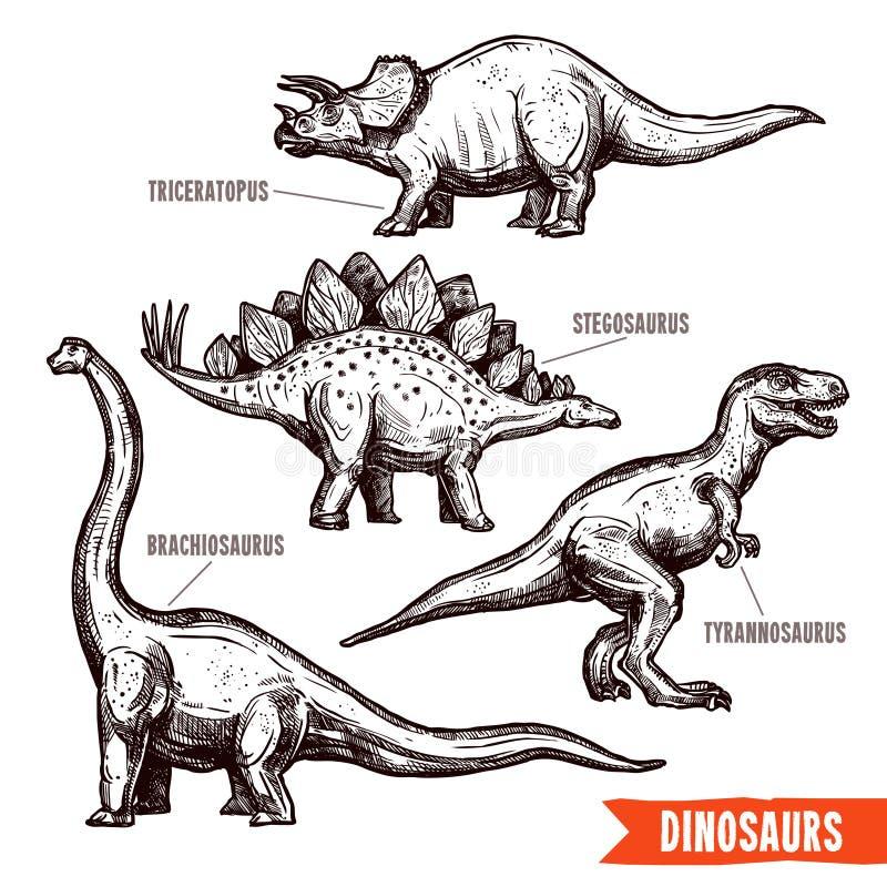 Hand dragit klotter för dinosaurieuppsättningsvart royaltyfri illustrationer