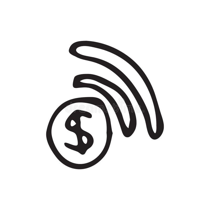 Hand dragit klotter för wi fi Skissa dollarsymbolen Taget i Genua, Italien royaltyfri illustrationer