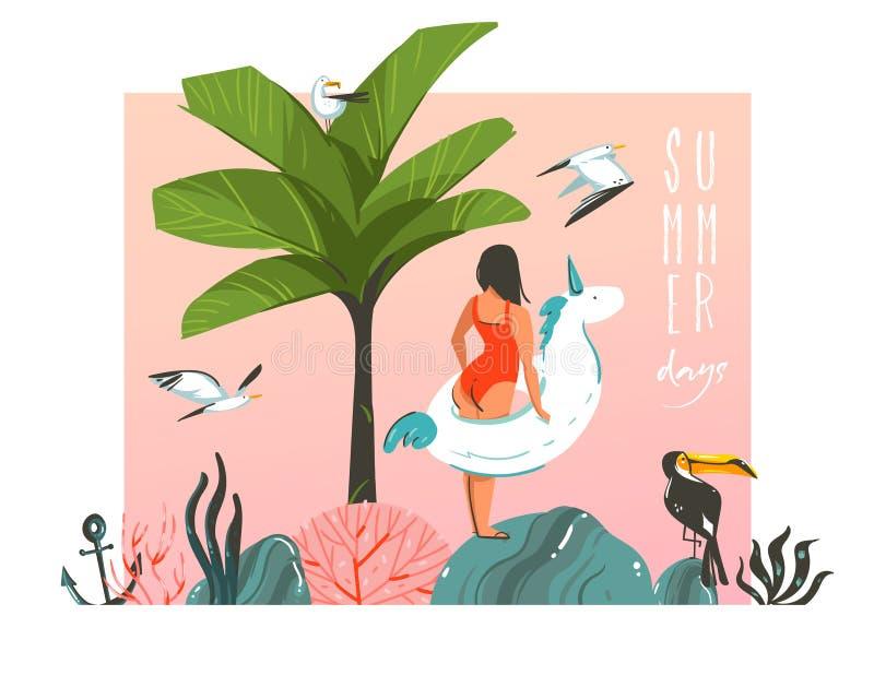 Hand dragit kort för illustration för tid för sommar för vektorabstrakt begrepptecknad film grafiskt med flickan, enhörningflötec stock illustrationer
