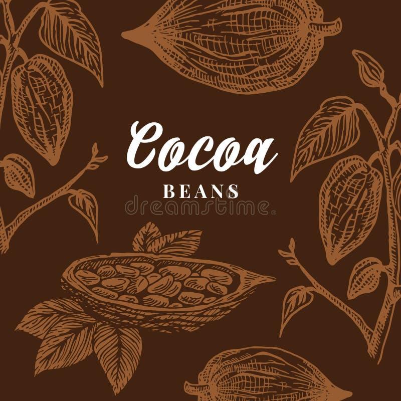 Hand dragit kort för kakaobönor Abstrakt vektorkakao skissar bakgrund royaltyfri illustrationer