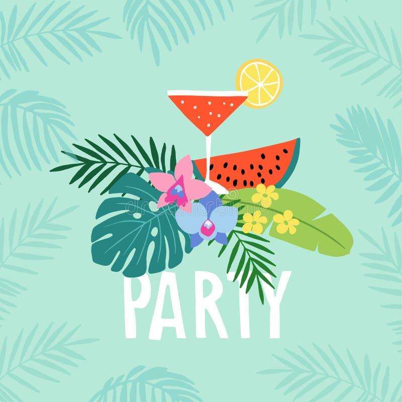 Hand dragit kort för sommarpartihälsning, inbjudan med coctaildrinken Vattenmelonfrukt med tropiska palmblad och stock illustrationer