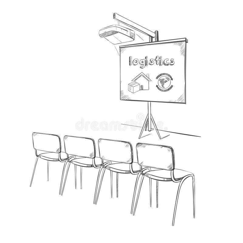 Hand dragit logistiskt presentationsbegrepp för affär royaltyfri illustrationer