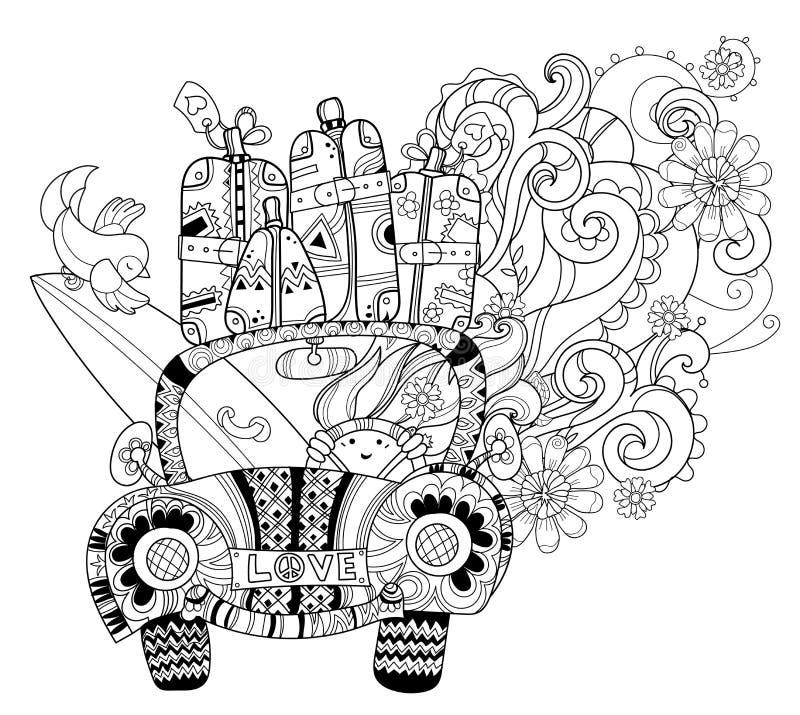 Hand dragit lopp för bil för klotteröversiktsferie royaltyfri illustrationer