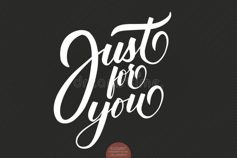 Hand dragit märka precis för dig Valentintypografi Elegant modern älskvärd handskriven kalligrafi typografi royaltyfri illustrationer